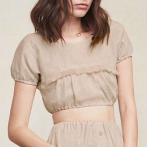 NWT Reformation Jalisco Tawny Linen Crop Top S